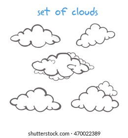 Drawing pencil set of clouds. Vector illustration