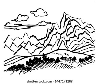 drawing picture of an abstract mountain landscape and a small alpine village in the foothills, sketch. hand-drawn in ink vector illustration.
