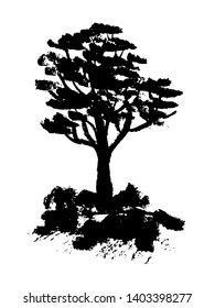 drawing picture black silhouette of a green tree with a lush crown among the stones, a sketch, hand-drawn with coal vector illustration