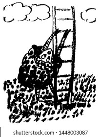 drawing picture isolate, black sheep trying to climb the stairs, hand-drawn ink sketch, comic cartoon vector illustration