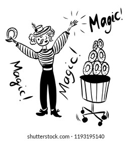 drawing picture, mustache funny man juggler in a striped suit with a belt and hat, trains donuts in the circus without animals, comic cartoon digital vector illustration