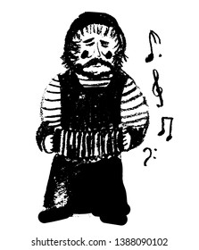 drawing picture of a street musician in simple working clothes and a hat, playing the accordion, sketch by hand drawn with coal vector illustration