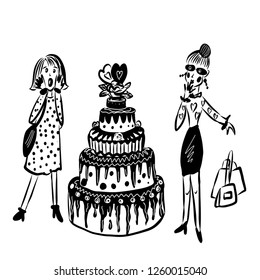 drawing picture of two fashionable girls with bags, surprised at looking at a huge cake, a sketch of a hand-drawn cartoon digital vector illustration