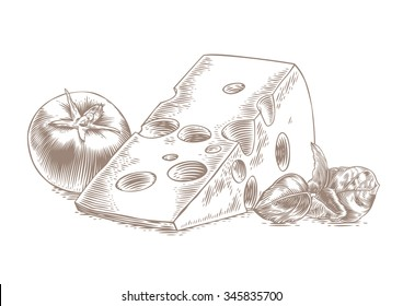 Drawing of piece of cheese with fresh basil and tomato