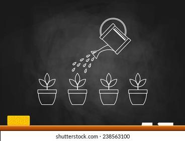 Drawing of plants on blackboard