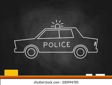 Drawing of police car on blackboard