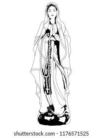 drawing of the praying Virgin Mary on a white background