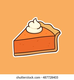 Drawing of pumpkin pie piece topped with whipped cream, traditional American Thanksgiving Day dessert. Hand drawn vector illustration.