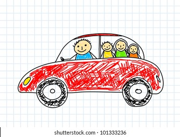 Drawing of red car on squared paper