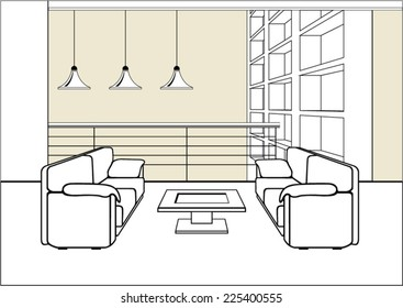 Drawing room interior.Vector monochrome illustration.