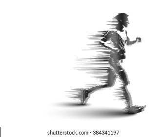 Drawing of Running man silhouettes. Vector illustration.