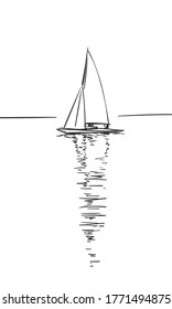 Drawing of sailing boat with reflection on calm water, Vector sketch, Hand drawn illustration