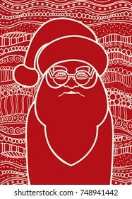 Drawing Santa Claus Zentangle Style For Coloring Book Tattoo Shirt Design Logo