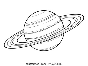 Drawing of Saturn - hand sketch of planet of the Solar System