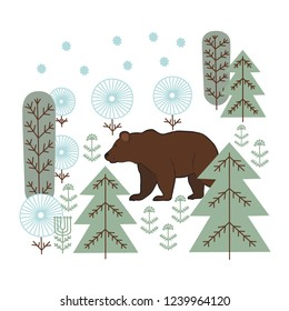 Drawing in the Scandinavian style,  nature,  bear,  wood, winter,  white background,  card, hand drawing,  vector illustration