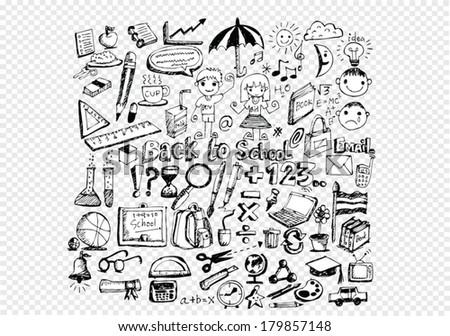 Drawing School Items Back School On Stock-Vektorgrafik (Lizenzfrei ...