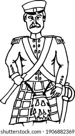 Drawing of the Scottish artillery officer from 19th century in black and white