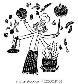 drawing set of elements, four-handed girl cook in work clothes and a cap, preparing soup in a cauldron on an open fire, a sketch, a hand-drawn digital comic cartoon vector illustration