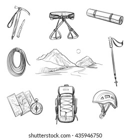Drawing set of icons on the theme of outdoor activities , hiking