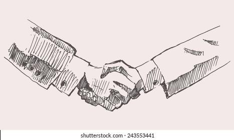 Drawing shake hands, partnership, hand drawn vector illustration, sketch