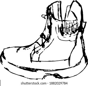 Drawing shoes. Boot. Warm winter shoes.