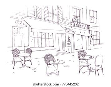 Drawing of sidewalk cafe or restaurant with tables and chairs standing on city street beside antique building with awning hand drawn with contour lines on white background. Vector illustration.