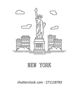 Drawing silhouette New York City, America usa flat drawing, Vector illustration