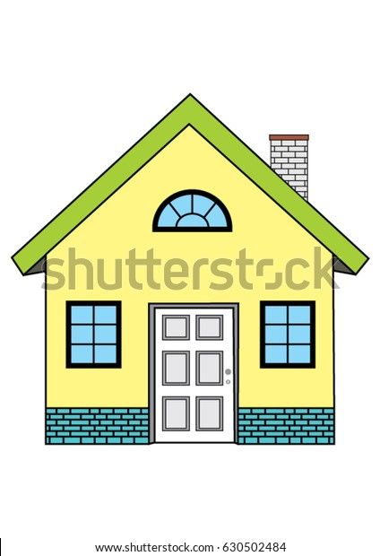 Drawing Simple House Windows Stock Vector Royalty Free 630502484