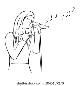 Drawing of a singer with microphone