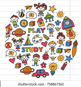 Drawing, singing Exploration Sport Kindergarten, preschool, nursery Children play Kids drawings patterns with doodle icons Space, adventure, imagination and creativity
