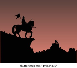 Drawing or Sketch of Chhatrapati Shivaji Maharaj Indian Ruler and a member of the Bhonsle Maratha clan outline, silhouette editable illustration