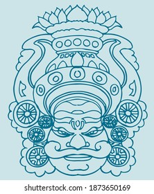 Drawing or Sketch closeup face view of traditional Yakshagana costume wear men editable outline illustration