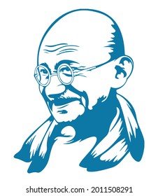 Drawing or Sketch of Father of India or Father of the Nation Mahatma Gandhiji Outline Editable Illustration