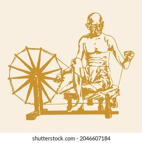 Drawing or Sketch of Father of Indian Nation and Freedom Fighter Mahatma Gandhi outline editable illustration