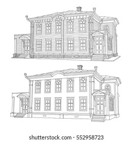 Drawing sketch of a house Vector illustration.