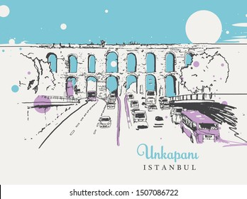 Drawing sketch illustration of the ancient aqueduct built in Byzantium period in todays Unkapani district of Istanbul. The stone arch was used to carry water to Constantinople.