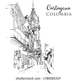Drawing sketch illustration of Cartagena, Colombia