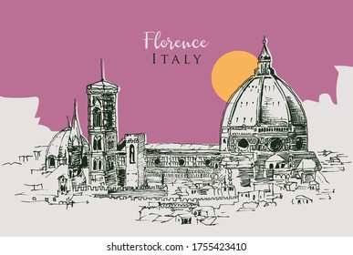 Drawing sketch illustration of the Cathedral of Santa Maria del Fiore in Florence, Italy
