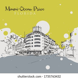 Drawing sketch illustration of a corner in Ocean Drive in Miami, Florida, USA