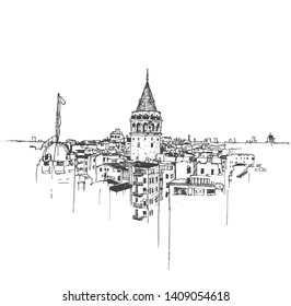 Drawing sketch illustration of the Galata Tower and Galata district of Beyoglu, Istanbul