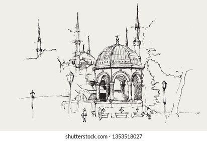 Drawing sketch illustration of the German Fountain and the Blue Mosque or Sultanahmet Mosque, Istanbul