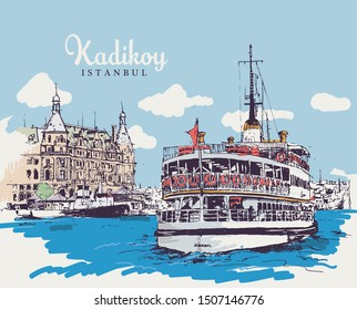 Drawing sketch illustration of Haydarpasa Dock and a ferry on the coast of the Bosphorus in Kadikoy, Istanbul.