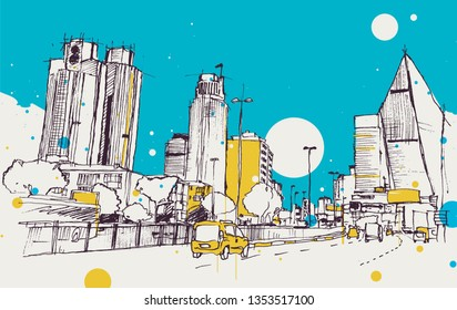 Drawing sketch illustration of Levent district with business towers and cars in traffic, Istanbul