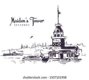 Drawing sketch illustration of the Maiden's Tower, the tower on an islet in the middle of the Bosphorus, Istanbul