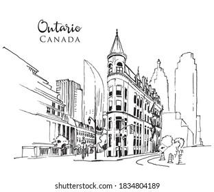 Drawing sketch illustration of Ontario, Canada