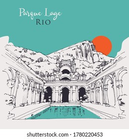 Drawing sketch illustration of Parque Lage, a public park in Rio, Brasil