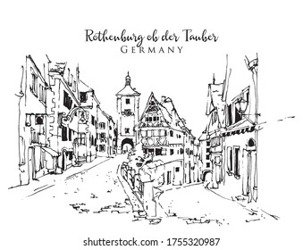Drawing sketch illustration of Rothenburg Ob der Tauber, Germany
