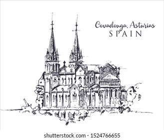 Drawing sketch illustration of Santa Maria Basilica in Covadonga, Asturia, Spain