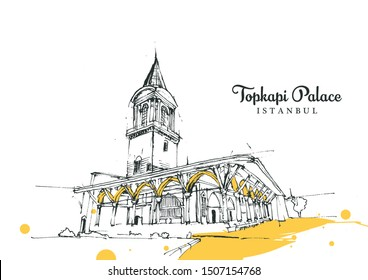 Drawing sketch illustration of Selam Gate of Topkapi Palace, the royal Ottoman palace in Istanbul, Turkey.