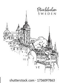 Drawing sketch illustration of Stockholm cityline, the Swedish capital
